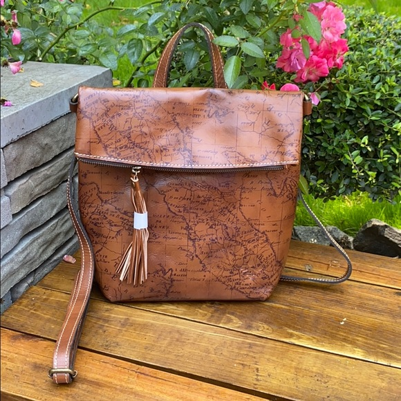 Patricia Nash Luzille Convertible Backpack Signature Map in Riot Rust